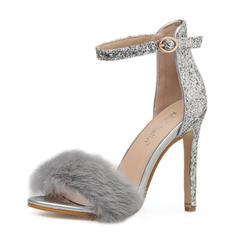 Women's Sparkling Glitter Stiletto Heel Sandals Pumps Peep Toe With Faux-Fur shoes
