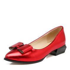 Dla kobiet PU Płaski Obcas Plaskie Zakryte Palce Z Kokarda obuwie
