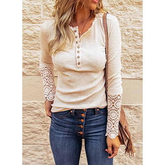 Solid Lace Round Neck Long Sleeves Button Up Casual Knit Blouses