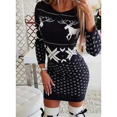 アニマルプリント 長袖 ボディコンドレス 膝上 クリスマスドレス/カジュアル セーター ドレス