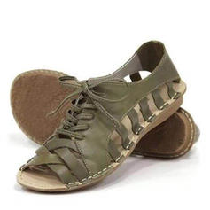 Women's PU Flat Heel Flats Peep Toe With Braided Strap shoes
