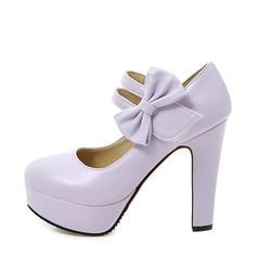 De mujer PU Tacón ancho Salón Plataforma Cerrados con Bowknot zapatos