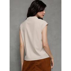 Solid V-Neck Sleeveless Casual Elegant Blouses