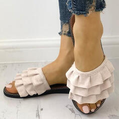 Women's Suede Flat Heel Sandals Peep Toe Slippers With Ruffles shoes