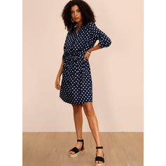PolkaDot 1/2 Sleeves A-line Knee Length Casual Dresses