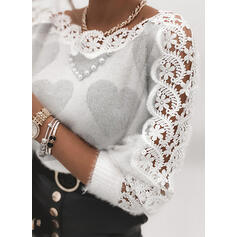 Print Lace Beaded Heart Round Neck Casual Sweaters