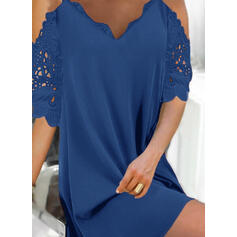 Solid 1/2 Sleeves Shift Above Knee Little Black/Elegant Dresses