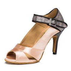 Women's Satin Sparkling Glitter Sandals Ballroom Swing Dance Shoes