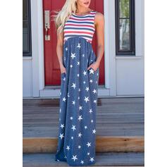 Print/Striped Sleeveless A-line Casual Maxi Dresses