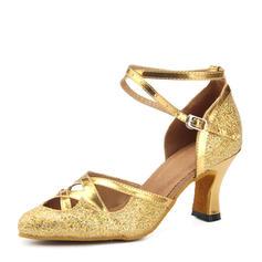 Women's Sparkling Glitter Heels Ballroom Dance Shoes