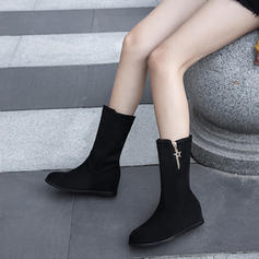 Women's Suede Wedge Heel Pumps Boots Mid-Calf Boots With Zipper shoes