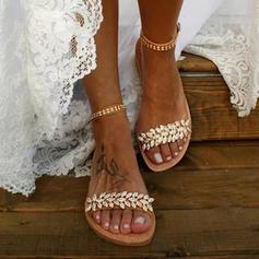 Frauen PU Flascher Absatz Sandalen Flache Schuhe Peep Toe mit Kristall Schnalle Schuhe