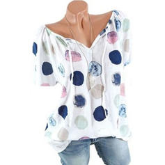 Print V-neck Short Sleeves Casual Knit Blouses