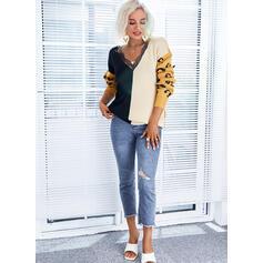 Trozos de color Leopardo Encaje Cuello en V Casual Suéteres