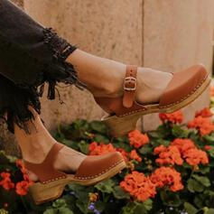 Жіночі ПУ Низький каблук Танкетка Квадратний носок з Пряжка взуття