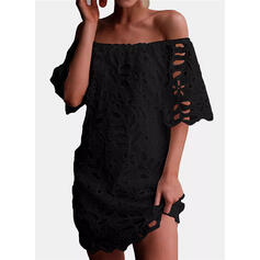 Lace/Solid 3/4 Sleeves Sheath Above Knee Little Black/Casual/Elegant Dresses