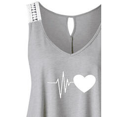 Print Heart V-Neck Sleeveless Casual Tank Tops