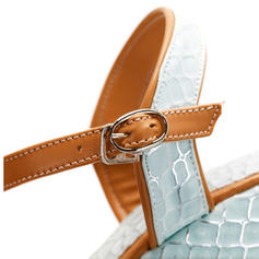 Femmes PVC Talon compensé Sandales Escarpins Compensée À bout ouvert Escarpins avec Boucle chaussures