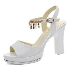 Women's Leatherette Stiletto Heel Peep Toe Pumps Sandals With Tassel
