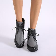 Mulheres PU Salto robusto Bota no tornozelo Martin botas com Aplicação de renda sapatos