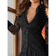 Solid Lace Cold Shoulder 3/4 Sleeves Elegant Blouses