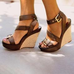 Vrouwen PU Wedge Heel Sandalen Plateau Wedges Peep Toe met Gesp schoenen