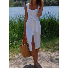 Solid Sleeveless Sheath Casual/Vacation Midi Dresses