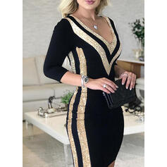 Sequins/Color Block Long Sleeves Bodycon Above Knee Elegant Dresses