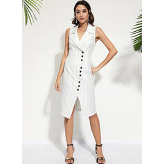 Striped Sleeveless Sheath Knee Length Casual/Elegant Dresses