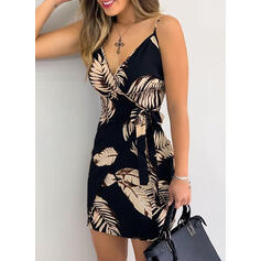 Print/Floral Sleeveless Sheath Above Knee Sexy Dresses