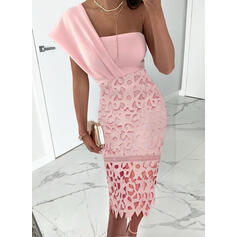 Lace/Solid Short Sleeves Sheath Casual Midi Dresses