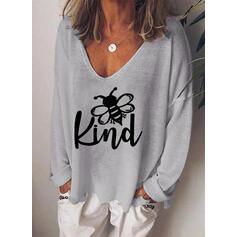 Animal Print Figure V-Neck Long Sleeves Casual T-shirts