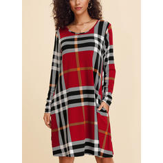 Plaid Long Sleeves Shift Knee Length Casual Dresses
