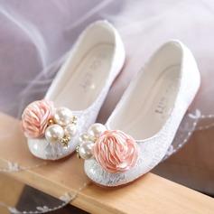 Fille de Dentelle talon plat bout rond Bout fermé Chaussures plates Chaussures de fille de fleur avec Brodé Une fleur