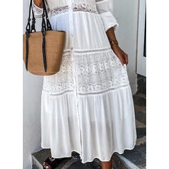 Lace/Solid Long Sleeves A-line Casual/Elegant Maxi Dresses