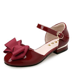 Girl's Patent Leather Flat Heel Round Toe Closed Toe Sandals Flats Flower Girl Shoes With Bowknot