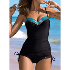 Splice color Drawstring Strap Sexy Beautiful Tankinis Swimsuits