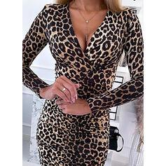 Leopard Lange Ärmel Figurbetont Über dem Knie Sexy Kleider