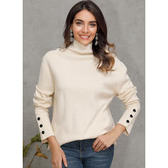 Solid Turtleneck Casual Tight Knit Tops