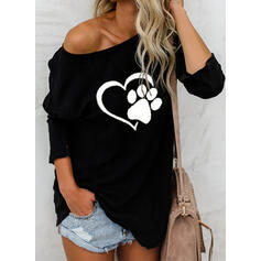 Estampado Animal Un Hombro Manga Larga Casual Camisetas