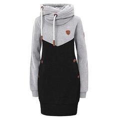 Color Block Long Sleeves Sheath Above Knee Casual Sweatshirt Dresses
