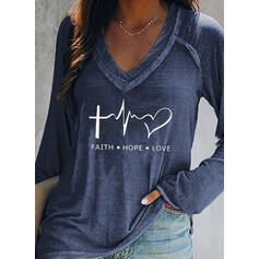 Print Figure Heart V-Neck Long Sleeves Casual T-shirts