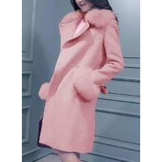 Gyapjú Hosszú ujjú Egyszerű Gyapjú kabátok