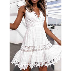 Lace Sleeveless A-line Above Knee Casual/Vacation Dresses