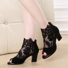 De mujer Malla Tacón ancho Sandalias Salón Encaje con Otros zapatos