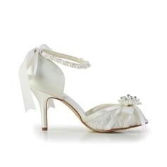 Frauen Satiniert Spule Absatz Peep Toe Absatzschuhe mit Flakem Synthetischen Perlen