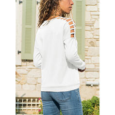 Einfarbig Schulterfrei Lange Ärmel Pullover