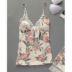 Gola V Sem mangas Floral Casual Conjuntos de calças e tops