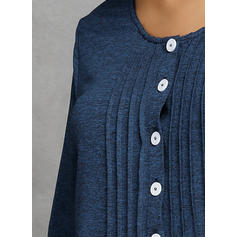 Solid Round Neck Long Sleeves Button Up Knit Blouses