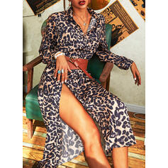Leopard Long Sleeves A-line Shirt/Skater Casual Maxi Dresses